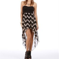 Black/Taupe Zig Zag Hi Lo Dress