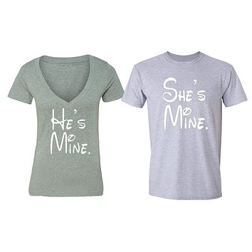 XtraFly Apparel She's He's Mine Valentine's Matching Couples Short Sleeve T-shirt