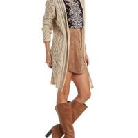 Taupe Combo Open Knit Marled Duster Cardigan by Charlotte Russe