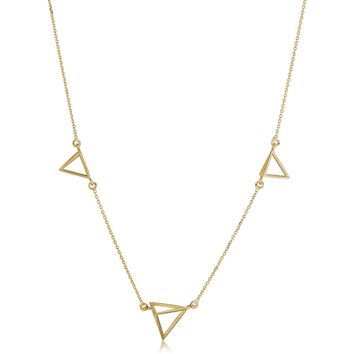 14k Yellow Gold 3D Triangle Station Adjustable Necklace, 18""