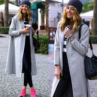 Solid Long-Sleeve Midi Trench Coat