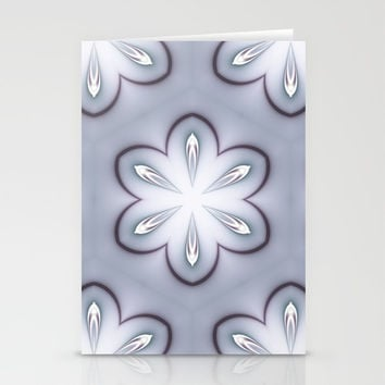 Gray and White Retro Flowers Stationery Cards by MoonBrook