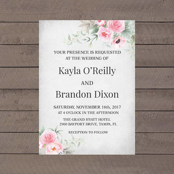 Printable Floral Wedding Invitation, Chic Wedding Invitation, Peonies Wedding Invitation, Pink and Gray Wedding Invitation, Instant Download