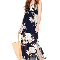 Navy V Neck Sleeveless Floral Split Dress - Sheinside.com