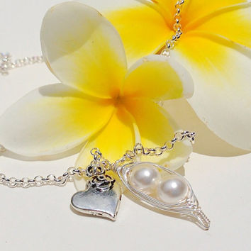 Peas in a pod necklace with rose heart charm - choose number of pearls & colors - plus include free gift note - bridesmaids - birthstones