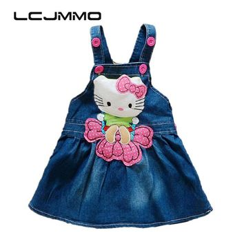 LCJMMO Baby Girl Denim Dress 2017 Summer Cartoon Pattern Girls Overalls Sleeveless Sundress Kids Infant Clothes Size 70-95cm