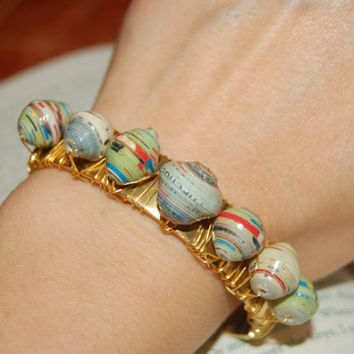 Colorful Beaded Brass Cuff.  God is Able Paper Bead Brass Cuff.  Brass Cuff.  Free Gift Wrap.