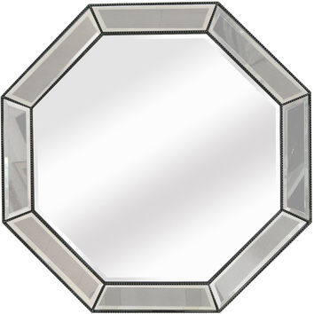 "Bassett Mirror Beaded Octagon Wall Mirror Silver Leaf 44"" x 44"" - M3450BEC"