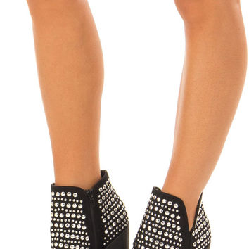 Black Silver Studded Bootie with Side Zipper