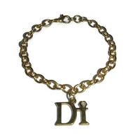 Vintage Di Charm Bracelet 80s Gold PRINCESS Di LADY DIANA Spencer Dianne Personal Jewelry 90s Dior Bridesmaid Bride Wedding Jewellery Gift
