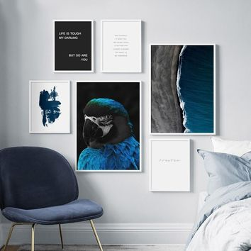 Blue Parrot Ocean Sea Landscape Quote Wall Art Canvas Painting Nordic Posters And Prints Wall Pictures For Living Room Decor