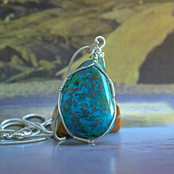Cuprite Chrysocolla free form pendant silver wire wrapped with silver plated necklace