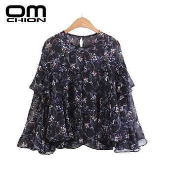 Floral Printed Ruffles Top O Neck Butterfly Sleeve Spring Autumn Shirts