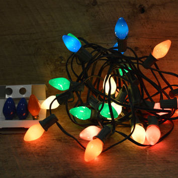 Vintage Christmas Lights, 25 Vintage Christmas Lights, Colored Lights, Colored Christmas Lights, Big Bulb Christmas Lights, Strand of Lights