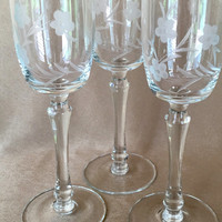 etched wine glasses dansk barwaretall stem wine floral design dansk wine