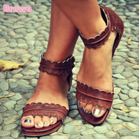 Flat shoes women's breathable sandals brown
