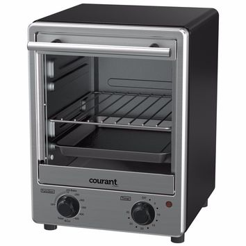 Courant Stainless Steel Toaster Oven with Tempered Glass Door and Galvanized Interior