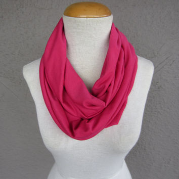 Pink Infinity Scarf - Bright Pink Circle Scarf - Raspberry Pink Cowl