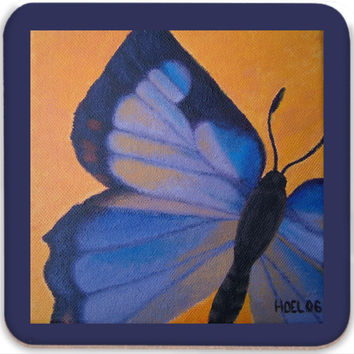 Colorado Hairstreak Butterfly - Coasters (Set of 4) of Acrylic Paint Fine Art
