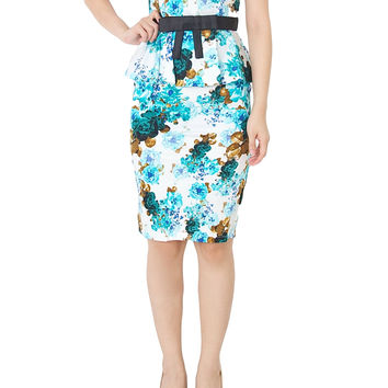TRISS Floral Peplum Dress With Black Ribbon In Blue