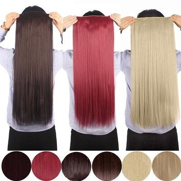 5Clips Clip in Hair Extensions Synthetic Curly Hair Extensions Onepiece Hairpiece