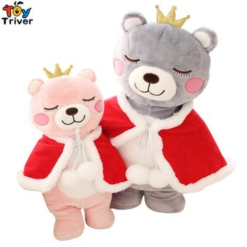 Cute Plush Crown Bear King Princess wite Cape Toy Stuffed Cartoon Bears Doll Baby Kids Children Birthday Gift Home Shop Decor