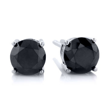 2.00 Ct Round Genuine Black Diamond Stud Earrings 925 Sterling Silver Wedding For Women Fine Jewelry