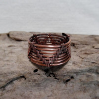 Mens Ring, Copper Ring, Band Ring, Mans Ring, Wire Wrapped Ring