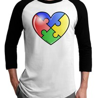 Big Puzzle Heart - Autism Awareness Adult Raglan Shirt by TooLoud
