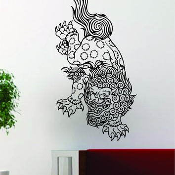 Foo Dog Tattoo Art Chinese Decal Sticker Wall Vinyl Decor