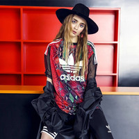 """Adidas"" Retro Multicolor Letter Snake Print Perspective Gauze Stitching Short Sleeve T-shirt  Mini Dress"