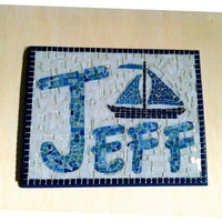Mosaic Art Personalized Name Plaque Family by GreenStreetMosaics