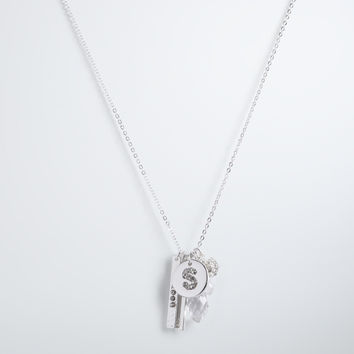 """S"" Initial Charm Necklace"