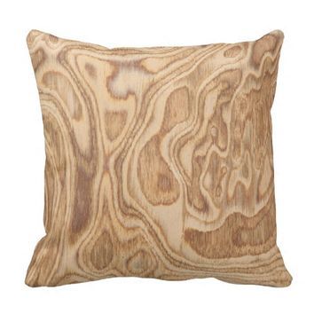 Olive Ash Burl Real Wood Throw Pillow