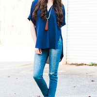 Night of Perfection Navy Sheer Blouse