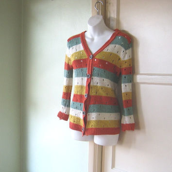 Vintage Sea Green/Orange Stripe V-Neck Cardigan - '80s Retro Old Man Button Up Sweater - Small, Crocheted Cardigan - Preppy Sweater Geek