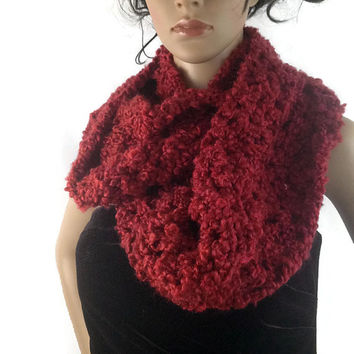 Outlander Claire Cowl Scarf Burgundy Red Bulky Scottish Winter accessories Circle Scarf Crocheted Neckwarmer FREE SHIPPING