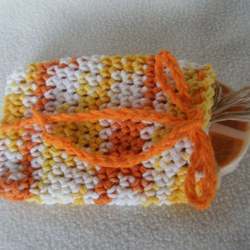 Crocheted Drawstring Soap Saver Pouch/Bag in Creamsicle