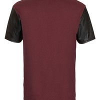 Burgundy leather Look Sleeve T-Shirt - Clearance - TOPMAN