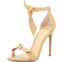Bow-Tie Leather dOrsay Sandal, Nude