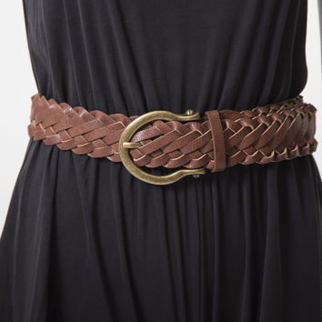 Wrapped Up Tan Woven Belt