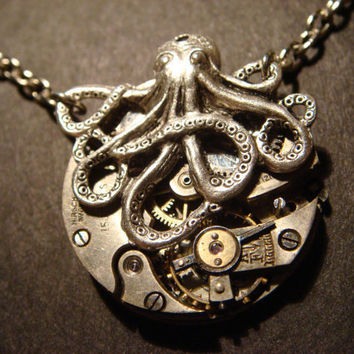 Steampunk Octopus Necklace on Vintage Watch by CreepyCreationz
