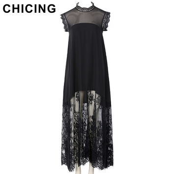 CHICING Women Black Chiffon Lace Sleeveless Maxi Dress  Spring Party New Fashion Lady Laciness Tank Vestidos mujer A1611038