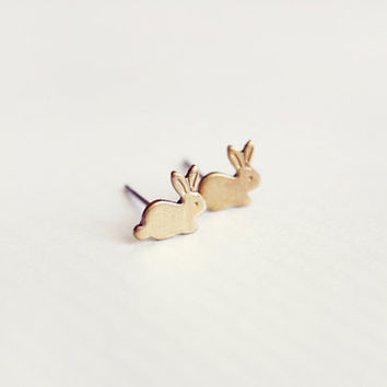tiny bunny - cute dainty post stud earrings - minimalist, everyday jewelry, gift for her