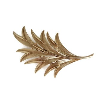 Trifari Leaf Brooch, Vintage Large Goldtone Leaf Pin