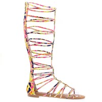 Magical13S Pink Multi Multi Gladiator Flat Open Toe Strappy Sandal, Roman / Greek Goddess Shoe.
