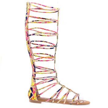 Magical13S Pink Multi By Bamboo Multi Gladiator Flat Open Toe Strappy Sandal, Roman / Greek Goddess Shoe.