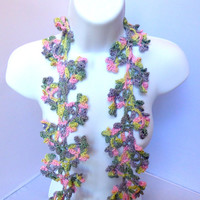 Spring Flower Vine Scarf, Crocheted Floral Lace Necklace