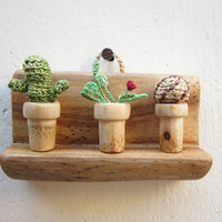 Cactuses collection, miniature shelf, wall hanging, miniature art, wall decoration, wood carving, crochet cactus, Cactus