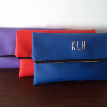 Personalized Bridesmaid Gift set of 3 / Foldover Monogram Clutch / Blue Red Purple Clutches